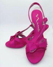 Nina Hot Pink Satin Rhinestone Bow Heels Ribbon Party Prom Size 8.5 Holidays