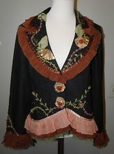 Paco Soler Wearable Art Jacket Silk Ribbon Trim Embroidered Size Large