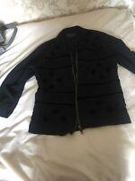river island black embroidered jacket size 10