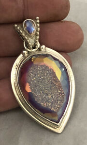 Beautiful Large SAJEN Signed Sterling Silver Druzy Healing Quartz Pendant