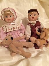 Porcelain Dolls Boy And Girl With Teddy Bears Knightsbridge Collection