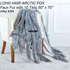 "Throw Blanket  LONG HAIR  FOX Faux Fur Throw  with 10 Tails 50"" x 70"" mfrp $295"