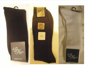 100% Cotton Ribbed Dress Socks 3 - 6 Pairs Made in USA Free Shipping!