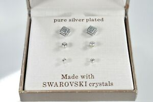 Set of 3 pairs of ear studs Cubic zirconia earrings of three different sizes-01
