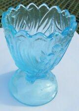 GENUINE ANTIQUE GLASS TOOTHPICK HOLDER - BLUE GLASS STORK BIRD MOTIF
