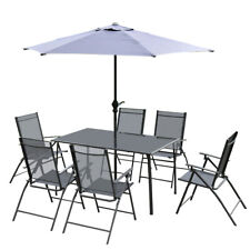 7 PCS Patio Garden Set 6 Folding Chairs and Umbrella Outdoor Yard Gray Furniture