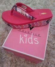 NIB Volatile Kids Deelight Fushia SEQUIN Wedge Flip Flops Sandal Shoes Girls 1 M