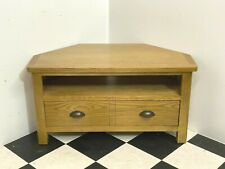 Modern Rutland rustic oak corner tv cabinet stand with storage drawer - Delivery