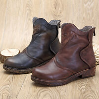 SOCOFY Sooo Comfy Retro Handmade Splicing Ankle Leather Boots