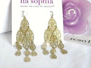 """Lia Sophia Gold """"JAKARTA"""" Dainty Chandelier Statement Earrings, Filigree, NWT"""