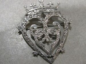 Vintage Sterling Silver 1960s IONA Luckenbooth Sweetheart Brooch