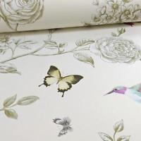 Grandeco ideco ROSA UCCELLINO motivo farfalla floreale carta da parati crema