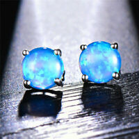 Fashion 925 Silver Round Cut Blue Fire Opal Stud Earrings Women Wedding Jewelry