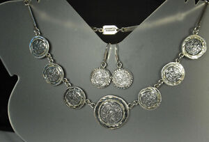 AZTEC SUN CALENDAR Necklace & Earrings 64.3g STERLING Silver Mexico City FAB!