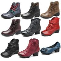 SOCOFY Women Genuine Leather Boots Floral Handmade Shoes Zipper Casual Outdoor