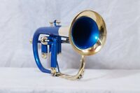 Flugel horn Blue color+brass 3 valve BB pitch with hard case and MP