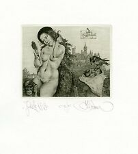 Nude, Crow, Mythology Ex libris Etching by Konstantin Kalinovich