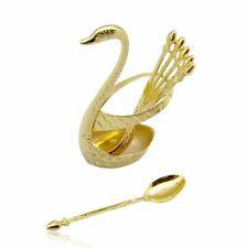Teelöffel Set vergoldet gold Schwan Löffelhalter Dekoration Aufbewahrung Demo