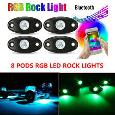 8Pcs RGB LED Rock Lights Wireless Bluetooth Music Flashing Offroad Boat  Autos