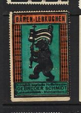 Poster Stamp Label BAREN LEBKUCHEN Germany BEAR CARRYING FLAG animal