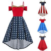 Fashion Women American Flag Printed Open Shoulder High Low Cami Plus Size Dress