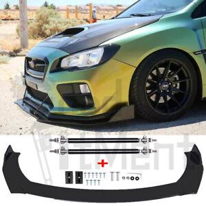 For Subaru WRX STI BRZ Impreza GC8 G3 V1 Front Bumper Lip Splitter + Strut Rods