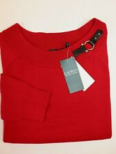 NWT $79 RALPH LAUREN Size M Women's Red 100% Cotton Boat Neck Sweater
