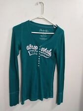 Aeropostale Green Half Button Thermal Long Sleeve Shirt Women's Size Medium