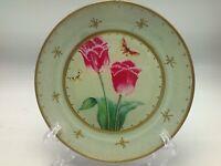 """Moonlighting Interiors Decoupage Glass Plate Botanical Tulips Butterflies 7"""" A"""