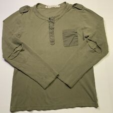 N.I.C.E NICE Collective Distressed, Henley in Military Green Size: Medium