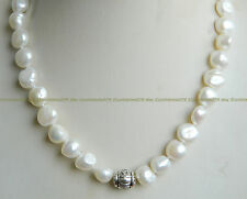 2016 New 9-10mm White Cultured Akoya Pearl & Tibetan silver Necklace 18 Inch