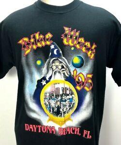 Vintage 90s Bike Week Daytona Beach FL T-Shirt XL Wizard Motorcycle Biker FIRE