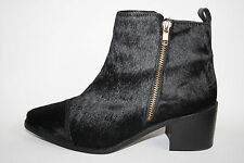 Faith Fashion Designer Ladies Womans Black 100% Leather Fur Ankle Boots 5 UK NEW