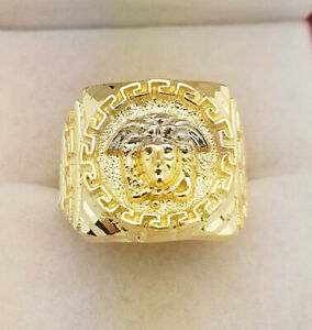 10K Yellow Gold Men's Versace Ring Medusa Face Ring 6.8 g