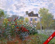 CLAUDE MONET'S GARDEN W DAHLIAS FLOWERS PAINTING ART REAL CANVAS GICLEE PRINT