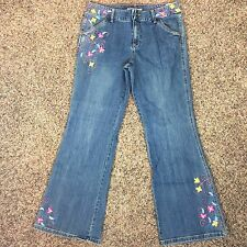 TOMMY HILFIGER Boho Hippie Embroidered Flare Leg Jeans Women's SZ 14 Z4