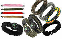 Paracord Bracelet 7 strand Cobra w/wo Compass Survival Wristband Camo Colors