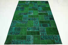 Patchwork Orient Tapis Vintage 310x200 turquoise vert Used Look noué à la main