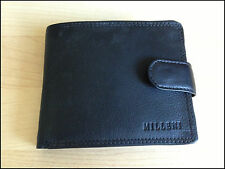 MILLENI MENS COW LEATHER BIFORD WALLET BLACK 529