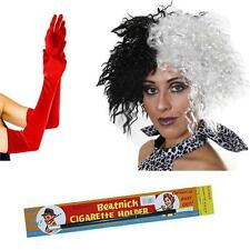 Women's Cruella Deville Wig Holder Red Gloves Fancy Dress Costume Dalmatian Hen