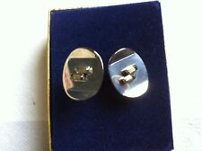 Vintage Cufflinks Silvertone with 2 Clear Crystal Stones