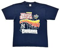Vintage New York Yankees 98 World Series Champions Tee Navy Size L Mens T Shirt