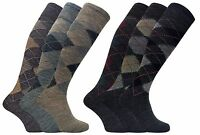 Mens 3 Pairs Warm Extra Long Boot Argyle Patterned Lambs Wool Blend Socks