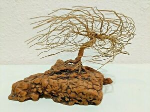 Copper Wire Tree Sculpture Windblown on Natural Wood Base