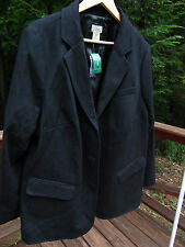 NWT LL Bean Womens Ladies 24W Black Wool Cashmere Lined Blazer Jacket Coat $184