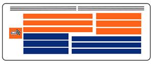 DECALS Bandes couleur GULF Stripes + Black Lines DECALCOMANIE decal ligne noire