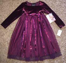 BISCOTTI Dress BOUTIQUE 4 BURGUNDY Velvet FLORAL Wedding FLOWER Girl NWT New
