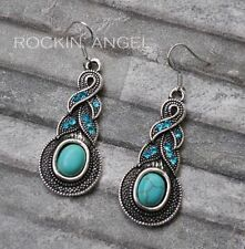 Turquoise Stone Tibetan Silver Costume Earrings