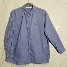 Zara Blue Pinstripe Long Sleeve Button Up 'Whatever' Shirt | Women's M (like L)