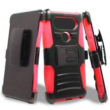 For LG V30 ShockProof Hybrid Armor Holster Belt Clip Kickstand Case Cover Black
